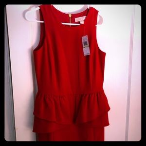 New Michael Kors red sleeveless peplum dress sz 4